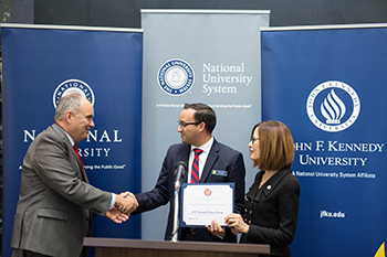 President Andrews and President Bean of John F. Kennedy University celebrate the launch of NU East Bay.